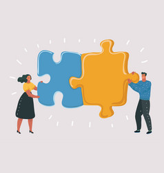 big puzzle in couple hands vector image