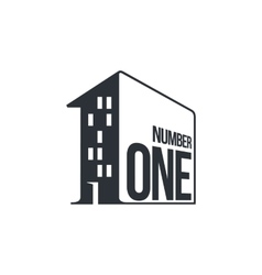 Black and white number one logo as apartment house vector image