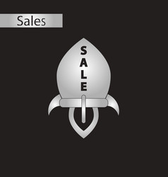 Black and white style icon sale rocket vector