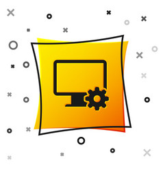 black computer monitor and gear icon isolated on vector image