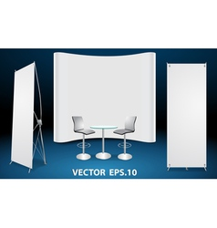 Blank trade show booth display vector