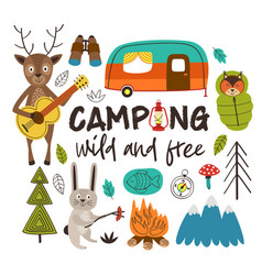 camping with animals in the forest vector image