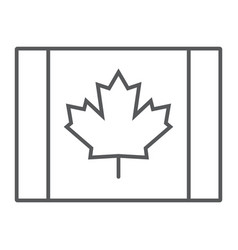 canadian flag thin line icon canada and maple vector image