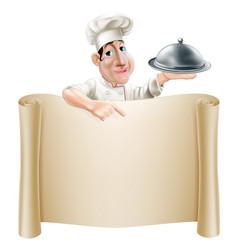 cartoon chef pointing at menu vector image