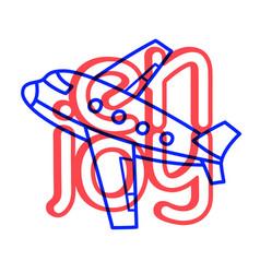 cartoon travel plane doodle lettering enjoy vector image