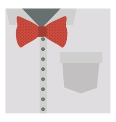 Close up formal shirt with red bow tie vector