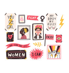collection of symbols of feminism and body vector image