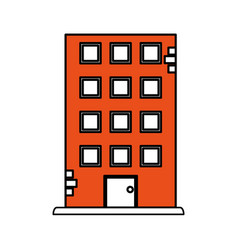 Color contour cartoon orange facade building vector