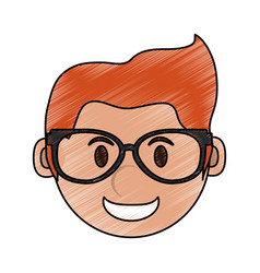 Color pencil cartoon face smiling man with glasses vector