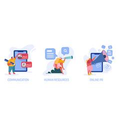 communication human resources online pr set vector image