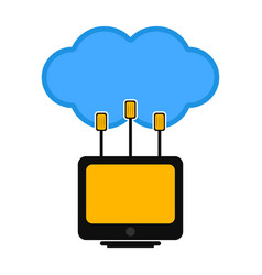 computer connected to a cloud vector image