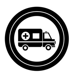 contour sticker ambulance emergency care life vector image