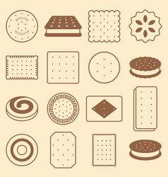 Cookie cracker and biscuit silhouette icon vector