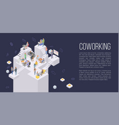 Coworking office concept background isometric vector