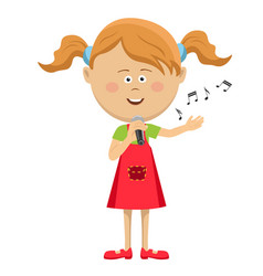 Cute little girl with microphone singing vector
