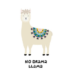 cute llama card with no drama motivational quote vector image
