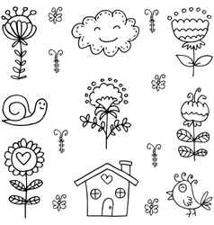 Doodle of spring set theme vector