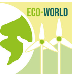eco world wind power turbine renewable vector image