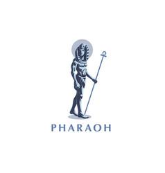 Egyptian king man pharaoh ankh vector