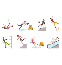 Falling down people tripping on stairs and vector