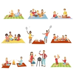 Families On Picnic Outdoors vector