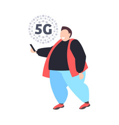 fat man using smartphone 5g online communication vector image