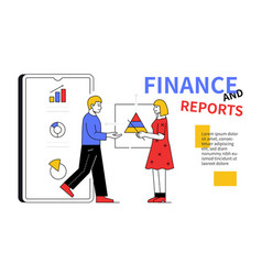 finance and reports - line design style web banner vector image