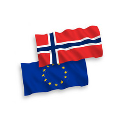 flags of norway and european union on a white vector image