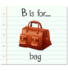 Flashcard letter B is for bag vector