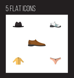 Flat clothes set of lingerie male footware vector