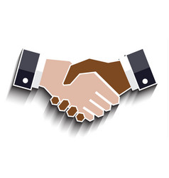 flat handshake icon with shadow business concept vector image