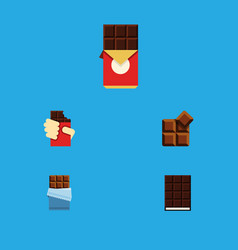 Flat icon chocolate set of bitter dessert cocoa vector