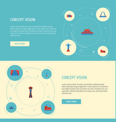 Flat icons drought architecture coliseum and vector