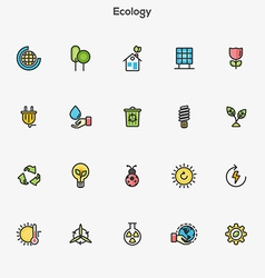 Flat line color icons green vector image