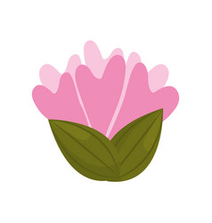 flower decoration bud with leaves vector image