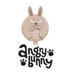 Frowning rabbit is paws up with lettering quote vector