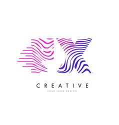 Fx f x zebra lines letter logo design with vector