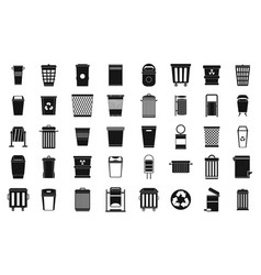 Garbage can icon set simple style vector