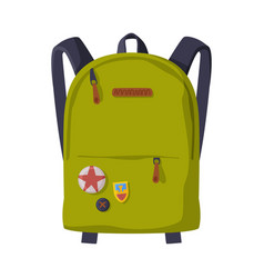 Green backpack with front zippered pocket vector