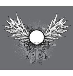 Grunge vintage emblem with wings vector