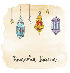 Hand drawn hanging arabic lanterns moon and stars vector