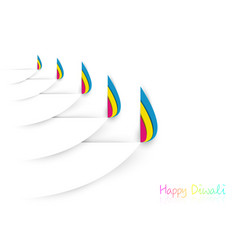 Happy diwali celebration template in paper cut vector