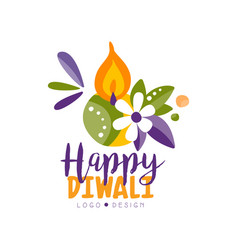 Happy diwali colorful logo hindu festival label vector