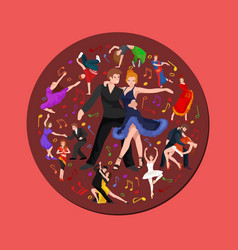 Happy salsa dancers couple isolated on white icon vector