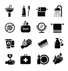 Hygiene bacteria virus protection icons vector image