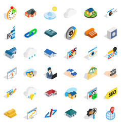 Insurance policy icons set isometric style vector