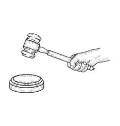 judge gavel sketch vector image