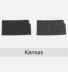 Kansas map counties outline vector