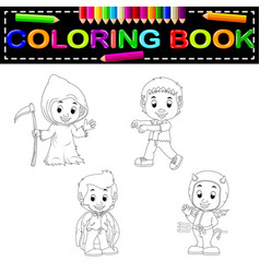 kids halloween coloring book vector image