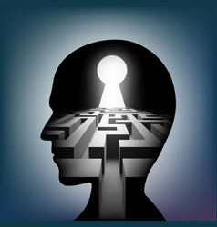 labyrinth in the human head maze with a keyhole vector image